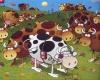 Dues vaques estan pastant